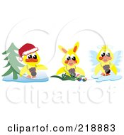 Digital Collage Of Yellow Christmas Easter And Angel Ducks With Cameras