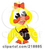 Royalty Free RF Clipart Illustration Of A Yellow Duck Girl With A Camera Around Her Neck by kaycee #COLLC218885-0112