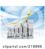 Royalty Free RF Clipart Illustration Of A Yellow Arrow Over A White 2011 Bar Graph Over Blue by MacX