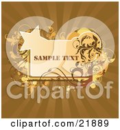 Clipart Picture Illustration Of An Orange Text Box With Circles Stars And Brown And Yellow Vines And Splatters On A Bursting Background