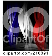Abstract Background Of Blue White And Red Curves Resembling A French Flag