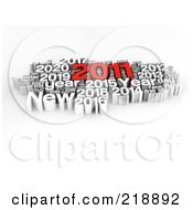 Royalty Free RF Clipart Illustration Of A 3d Red And White 2011 New Year Word Collage by MacX