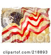 Grungy Abstract American Flag Water Color Painting With The USA Map