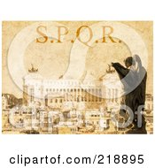 Royalty Free RF Clipart Illustration Of A Vintage Stained And Textured SPQR Background by MacX