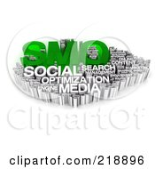 Royalty Free RF Clipart Illustration Of A 3d Green And White Smo Word Collage by MacX