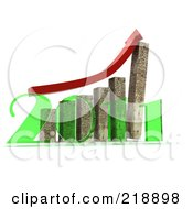 Royalty Free RF Clipart Illustration Of A Red Arrow Over Cement Towers On A Bar Graph In Front Of A Transparent Green 2011 by MacX