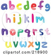 Royalty Free RF Clipart Illustration Of A Digital Collage Of Lowercase Colorful Letters And Symbols