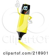 Royalty Free RF Clipart Illustration Of A Yellow Highlighter Marker Character by yayayoyo