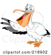 Royalty Free RF Clipart Illustration Of A Friendly Pelican Presenting