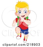 Happy Blond School Boy Running Forward