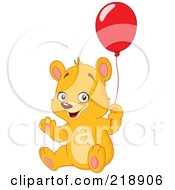 Royalty Free RF Clipart Illustration Of A Friendly Teddy Bear Waving And Holding A Red Balloon by yayayoyo