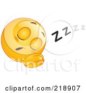 Royalty Free RF Clipart Illustration Of A Sleeping Yellow Face Emoticon