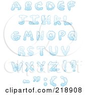Digital Collage Of Puffy Cloud Capital Letters And Symbols