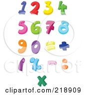 Royalty Free RF Clipart Illustration Of A Digital Collage Of Colorful Numbers And Symbols by yayayoyo