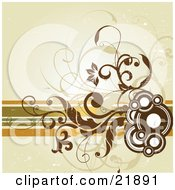 Clipart Picture Illustration Of Brown Circles Vines And Flowers Over Lines On A Green Background