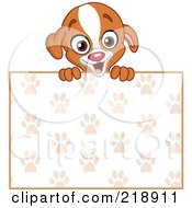 Royalty Free RF Clipart Illustration Of A Cute Puppy Looking Over A Blank Paw Print Sign by yayayoyo