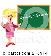 Royalty Free RF Clipart Illustration Of A Blond Female Teacher Pointing At Back To School On A Chalk Board by yayayoyo