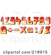 Royalty Free RF Clipart Illustration Of A Digital Collage Of Red And Yellow Numbers And Symbols