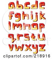 Digital Collage Of Lowercase Red And Yellow Letters And Symbols