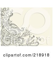 Royalty Free RF Clipart Illustration Of A Black Floral Doodle Corner On A Tan Background by yayayoyo