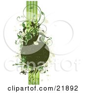 Clipart Picture Illustration Of A Worn Green Text Space With Vertical Lines Splatters And Vines On A White Background