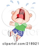 Royalty Free RF Clipart Illustration Of A Little Boy Screaming And Crying