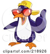 Royalty Free RF Clipart Illustration Of A Cool Penguin Wearing A Hat And Shades And Holding A Thumb Up by yayayoyo