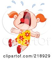 Royalty Free RF Clipart Illustration Of A Little Girl Screaming And Crying