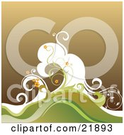Clipart Picture Illustration Of Orange Flowers On Green Vines And White Brown And Green Waves Over Brown by OnFocusMedia