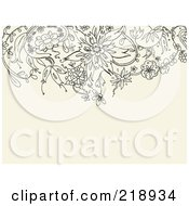 Royalty Free RF Clipart Illustration Of A Black Floral Doodle Border On A Tan Background