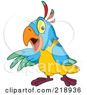 Royalty Free RF Clipart Illustration Of A Friendly Colorful Parrot Presenting