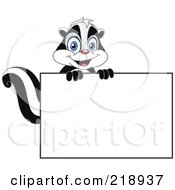 Royalty Free RF Clipart Illustration Of A Cute Skunk Looking Over A Blank Sign by yayayoyo
