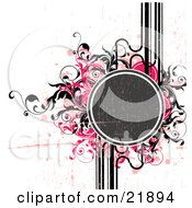 Green Text Circle With Black Pink And Tan Paint Splatters And Vines Over A White Background