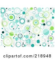 Royalty Free RF Clipart Illustration Of A Seamless Funky Background Of Blue And Green Circles On White