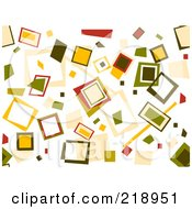 Royalty Free RF Clipart Illustration Of A Retro Background Of Scattered Squares On White