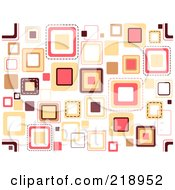 Royalty Free RF Clipart Illustration Of A Funky Background Of Scattered Squares On White by BNP Design Studio