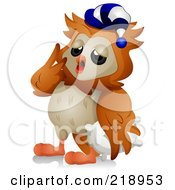 Royalty Free RF Clipart Illustration Of A Cute Owl Yawning And Wearing A Night Hat by BNP Design Studio