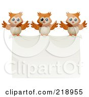 Royalty Free RF Clipart Illustration Of Three Owls Carrying A Banner