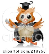 Royalty Free RF Clipart Illustration Of A Cute Owl Wearing A Cap And Gown by BNP Design Studio
