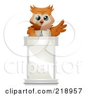 Royalty Free RF Clipart Illustration Of A Cute Owl Businessman Speaking At A Podium