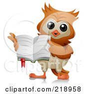 Royalty Free RF Clipart Illustration Of A Cute Owl Holding An Open Book