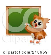 Royalty Free RF Clipart Illustration Of A Cute Owl Writing On A Chalk Board by BNP Design Studio