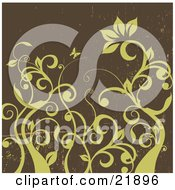 Clipart Picture Illustration Of Green Curly Leafy Vines With One Large Flower And A Butterfly Over A Grunge Brown Background