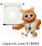 Royalty Free RF Clipart Illustration Of A Cute Owl With A Presentation Screen