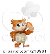 Royalty Free RF Clipart Illustration Of A Cute Owl Thinking