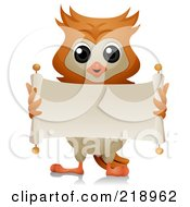 Royalty Free RF Clipart Illustration Of A Cute Owl Unrolling A Blank Scroll Banner by BNP Design Studio