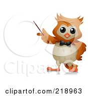 Royalty Free RF Clipart Illustration Of A Cute Owl Teacher Holding A Pointer