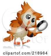 Royalty Free RF Clipart Illustration Of A Cute Owl Searching With A Magnifying Glass