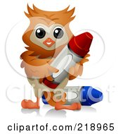 Royalty Free RF Clipart Illustration Of A Cute Owl With Crayons
