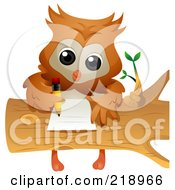 Cute Owl Doing Homework On A Log